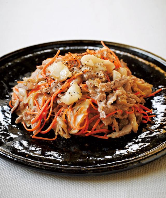 画像: 白菜漬けを使って 白菜の古漬けと豚肉、にんじんの炒めもの