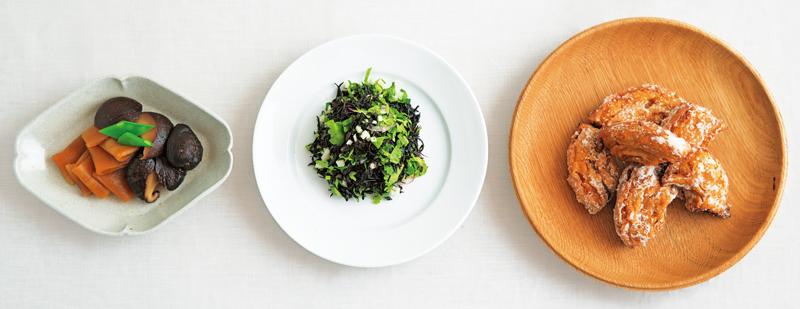 画像: 左から、山㟢さんのかんぴょうと干ししいたけの煮もの、タナカさんのひじきサラダ、金子さんの車麩のから揚げ