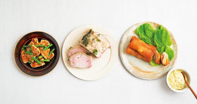 画像: 左から、山㟢さんのカジキのスパイス炒め、タナカさんの豚ロースのグリル、金子さんの塩麴どりの春巻きコロッケ+和風タルタル
