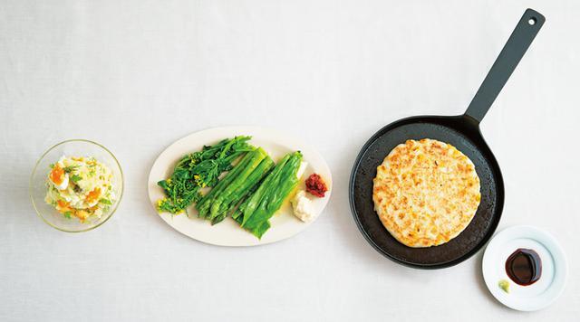 画像: 左から、山㟢さんのポテトサラダ、タナカさんのスチーム野菜にオイルとディップ、金子さんの大和いものお好み焼き