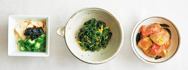 画像: 左から、山㟢さんの湯葉ののりあえ、タナカさんの青菜のゆずこしょうあえ、金子さんのトマトとアボカドのさっぱりごまだれあえ