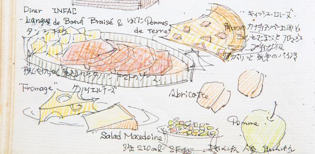 画像: パリの修道院での、簡素な食事 料理も給仕も、シスターがしてくれた。「薄暗い食堂の、木のテーブルを10人くらいずつ囲んで食事。簡素だけれど、前菜、メイン、デザート、チーズまで出てきました。ワインボトルがテーブルに1本ずつ置いてあって、皆で分けるんです」