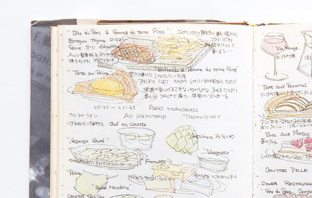 画像: パリで感激した、洋梨のタルト 旅の前半、パリに滞在していたころの記録。飾らない料理の数々が並ぶ。「ノートの左上に描かれているのは、知り合いのフランス人大学生が連れていってくれた、サンミッシェルの食堂での昼食。デザートの、洋梨のタルトがおいしかったです」