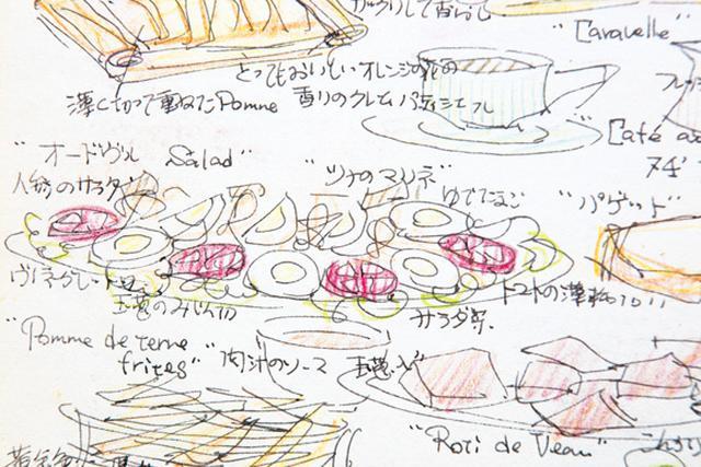 画像: ホームステイ時に堀井さんが描いた、にんじんサラダ。大皿から家族めいめいが取り分け、具を混ぜながら食べた