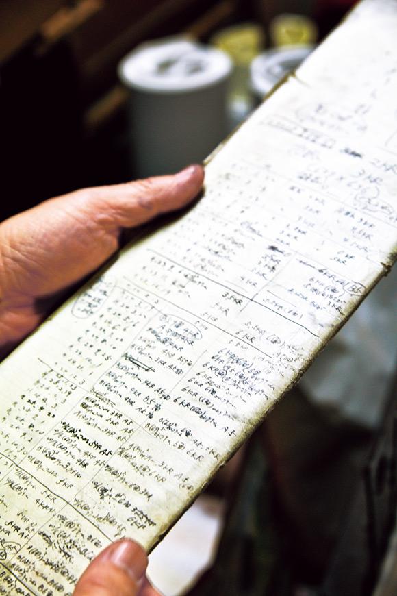 画像: 端紙にびっしりと書かれているのは、丸ペンの組み方と、受けた注文の記録。作業場には、このメモが山となって積まれている