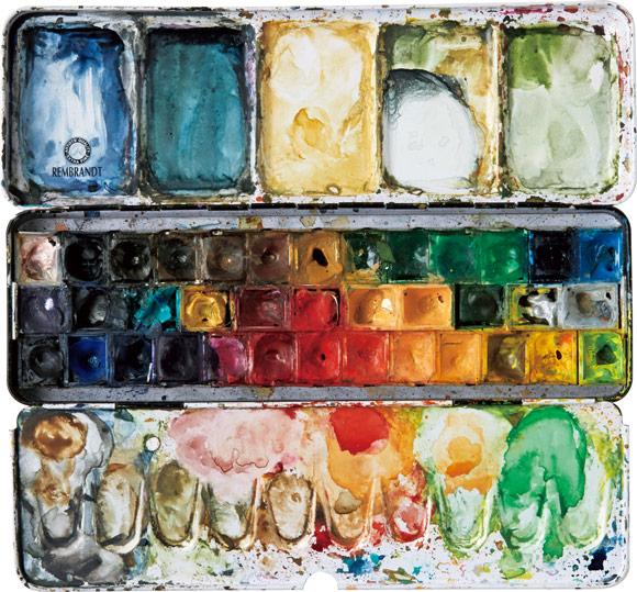 画像: 仕事道具の絵の具も活躍 ノートをつけるタイミングは、朝や仕事の合間。「イラストを描いているついでに水彩絵の具などを使って書くと、完成度もUP」