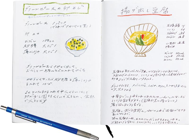 画像: 製図用のペンシルを愛用 ドイツの筆記具「ステッドラー」を愛用。柔らかい質感だけれど濃いニュアンスのある製図用のものを使用。スケッチも、すべてこれ レシピノートはイラストを添えて 気に入ったレシピは忘れないように書き写す。色鉛筆でイラストを描いて添えるのが奥村さん流。目当てのレシピも見つけやすい