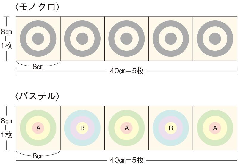画像: 寸法配置図(モチーフつなぎ)5枚