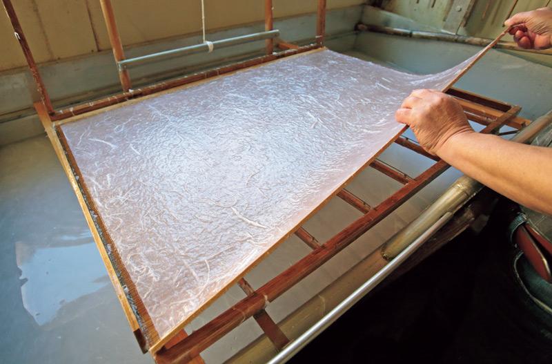 画像: 繊維をランダムに残して模様をつけた雲竜紙