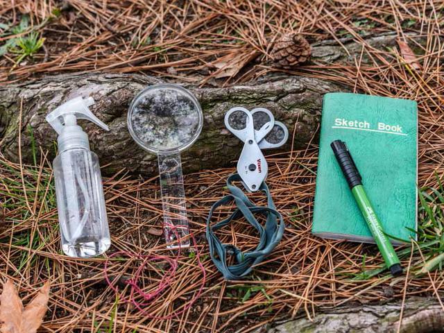 画像: こけの観察道具。左から霧吹き、手持ちタイプのルーペ、3連レンズタイプのルーペ、ノートと筆記用具