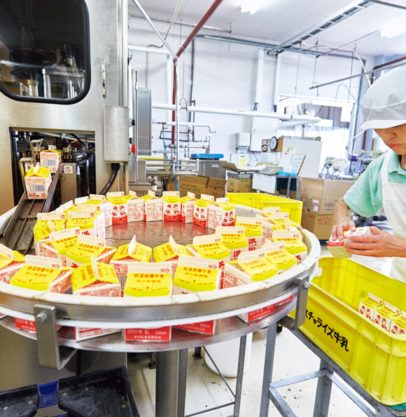 画像: 工場の生産ライン。一日当たりパスチャライズ牛乳約10,000本、ビン牛乳約6,000本が出荷される