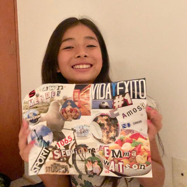 画像: レナちゃん作、今年の目標を表現した「コラージュ2020」。好きな教科は算数、いつかショーン・メンデスのコンサートに行きたいのだそう! ギターとウクレレも練習中です