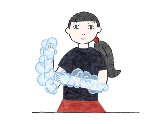 画像: 手洗いの範囲は「ひじ」までを目安に