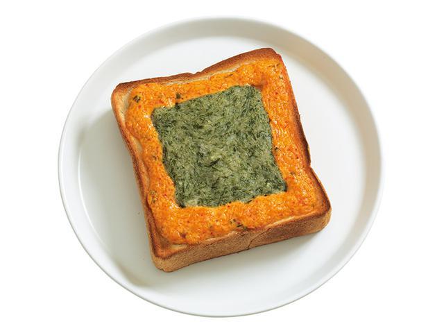 """画像: 「キムチドテマヨトースト」キムチを混ぜたマヨネーズの""""ドテ""""の中には、とろーりとした長いものすりおろしを。焼くと表面がふんわり、中はネバトロ~な不思議な食感に。"""