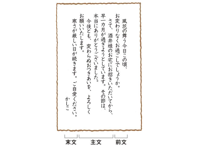 画像: 自宅に招待されたお礼の手紙(ハガキ)