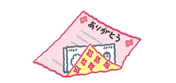 画像: 大きめの便箋でお金を包んで返す