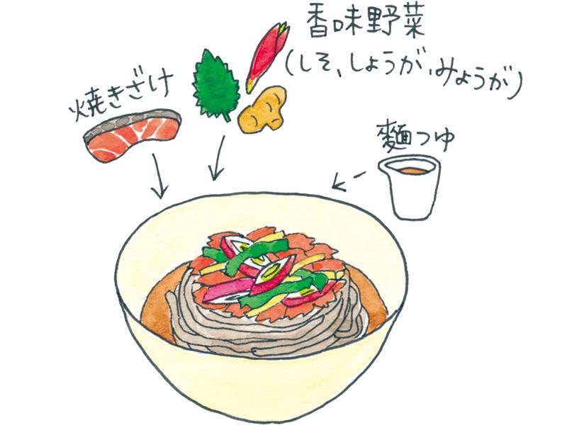 画像: 焼きざけはほぐしてたっぷりの香味野菜と