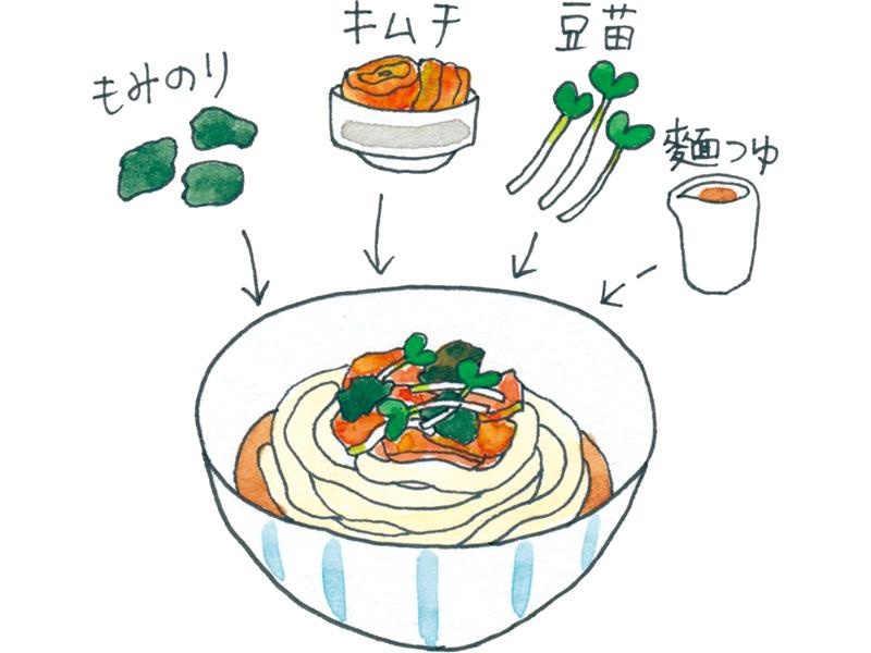 画像: キムチ、のり、豆苗を混ぜてビビン麵に