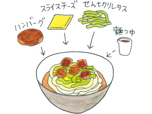 画像: ハンバーグでつくるタコライス風の麺