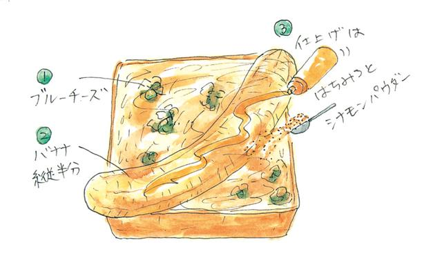 画像: 「ブルーチーズとバナナのトースト はちみつがけ」のつくり方