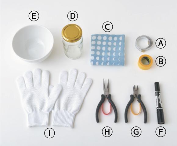 画像: A メジャー、B マスキングテープ、C 布(ハンカチなど)、D 台座用の瓶(型の底より直径が小さく、高さが約2倍のもの)、E 型用の器(ボウルなど)、F ペン、G ニッパー、H ラジオペンチ、I 軍手(滑り止め付きの薄手のもの)