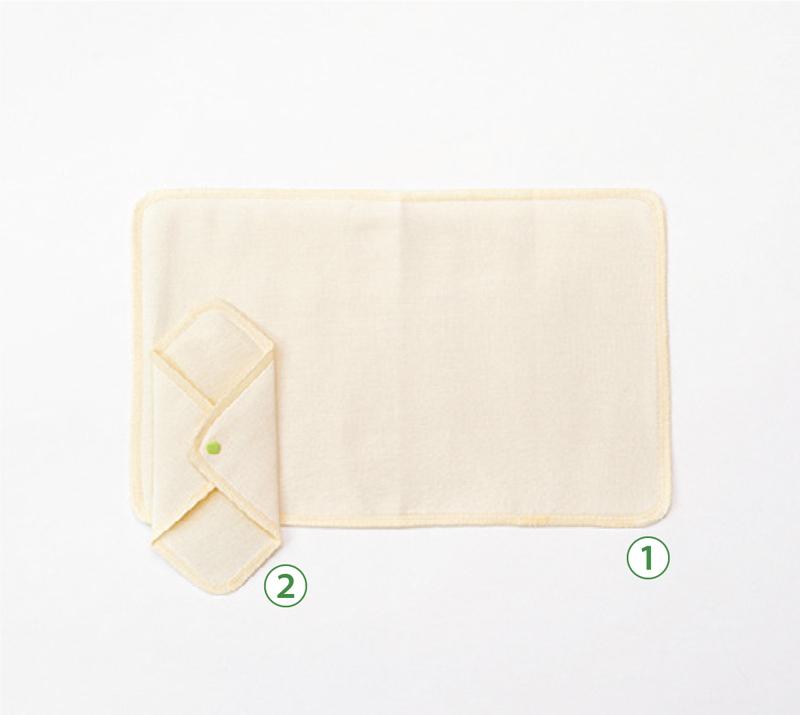 画像: ①竹の布ナプキン Mサイズ ②竹の布ナプキン ホルダー