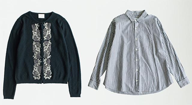 画像: ストライプシャツ 10,584円/ハンズ オブ クリエーションⒻ。刺しゅうカーディガン 19,224円/ユニⒺ