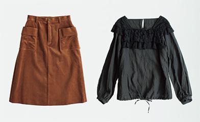 画像: クルーニーレースブラウス 30,240円/ネストローブⓀ。コーデュロイスカート 23,760円/アデュー トリステスⒸ