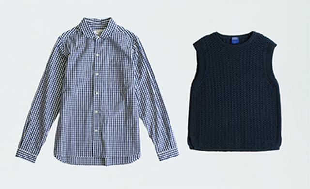 画像: チェックシャツ 10,584円/ル・グラジックⓅ。上に着たベスト 15,120円/ヒューマン ウーマンⓈ