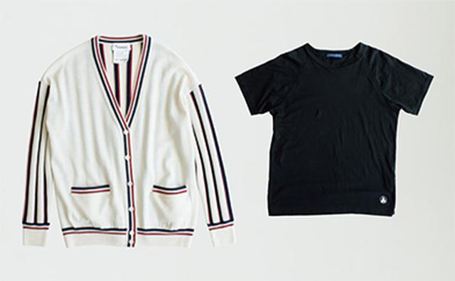 画像: 中に着たラグランTシャツ 8,100円/マリン フランセーズⓌ。カーディガン 20,520円/ヒューマン ウーマンⓈ