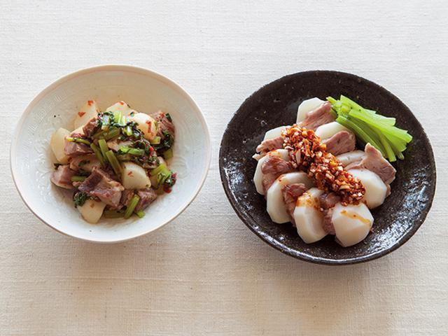 画像: (左)蒸し豚とかぶの梅じそあえ(右)蒸し豚とかぶの薬味じょうゆがけ