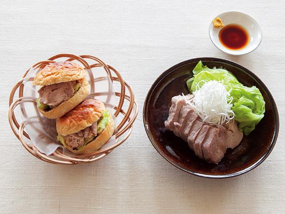 画像: (左)蒸し豚とキャベツのサンドイッチ(右)蒸し豚とキャベツの辛子じょうゆ添え
