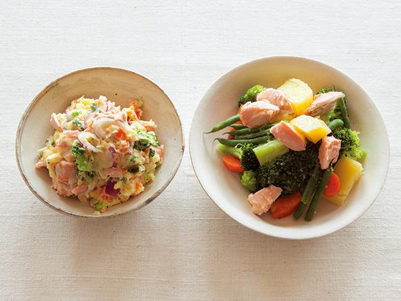 画像: (左)さけと野菜のポテトサラダ(右)さけと野菜のホットサラダ