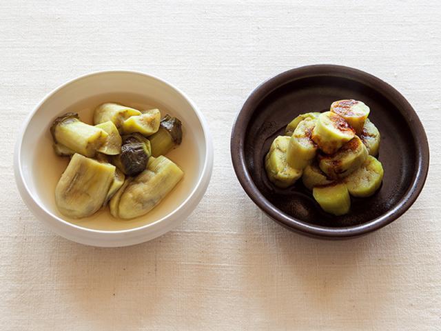 画像: (左)蒸しなすのおひたし(右)蒸しなすの辛子じょうゆ