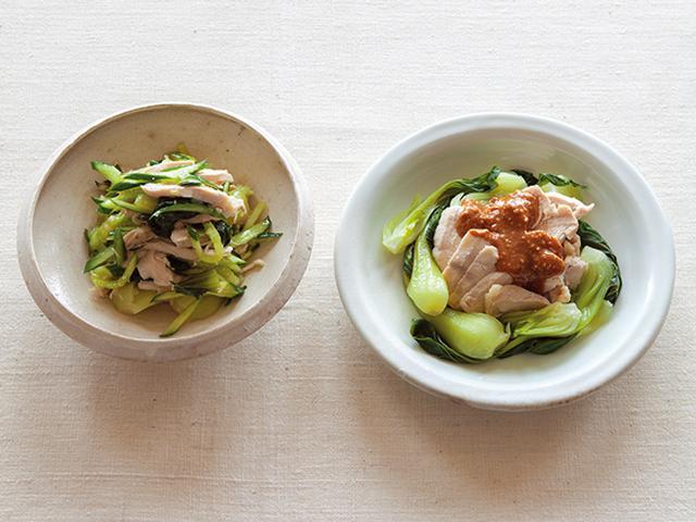 画像: (左)蒸しどりとチンゲン菜の塩だれあえ(右)蒸しどりとチンゲン菜のごま酢がけ