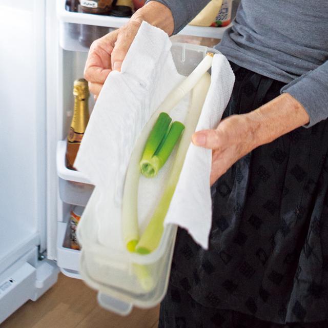 画像: ねぎは、キッチンペーパーを敷いた細長い密閉容器の中に。最後まで、きちんと使いきることができる