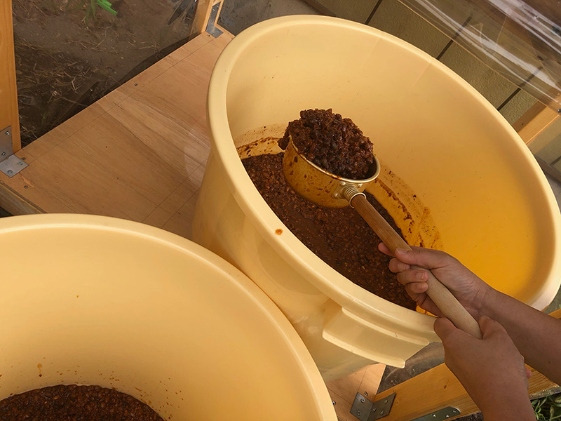 画像: 私たちの「天地返し」は、樽からひしゃくでもろみをすくって、からの樽に移し替えて行います