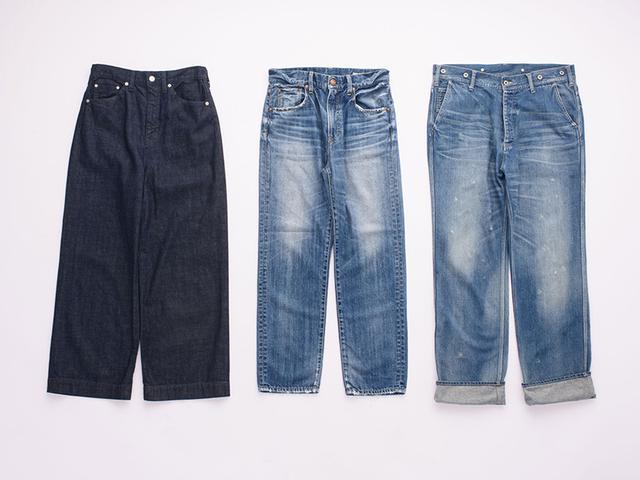 画像: 左から) ワイドストレート ¥17,000/サキュウ(サキュウ ルームストア) Vintage straight ¥20,000/レッドカード(ゲストリスト) VC-2215デニム ¥28,000/ヴェリテクール