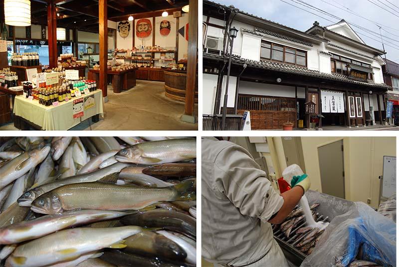 画像: まるはらの店舗(上)と、鮎の仕込み風景(下)