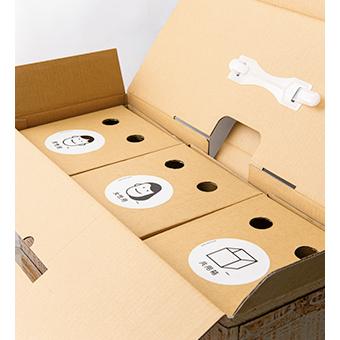 画像: 外箱を開けると、選んだ2種類(写真は、男性用と女性用)と共用箱の3箱で構成