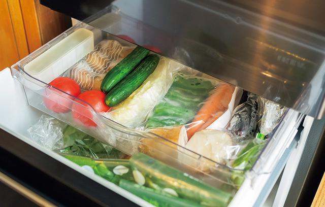 画像: 浅い段の整理ポイント 野菜は並べて一目瞭然