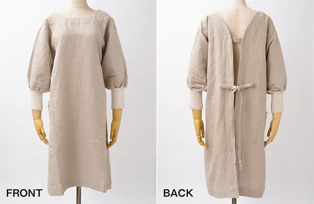 画像: 前後を逆にしてコートにもなる厚手リネンのかっぽう着