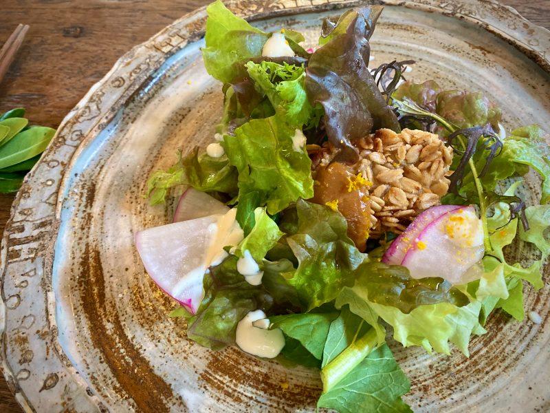 画像: 【前菜】大根のオートミールカツ柚子みそソース 畑のリーフ入りサラダSOY マヨソース