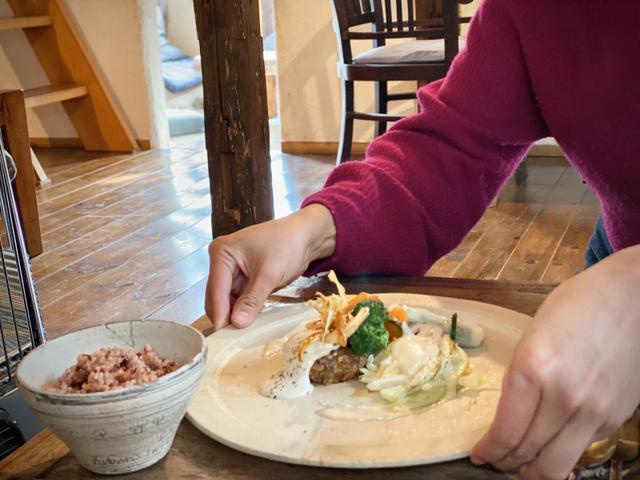 画像: 【メイン】ごぼうと大豆のハンバーグきのこソース 季節のグリル野菜SOYチーズソース もちきびと青葉ジェノベの大根巾着