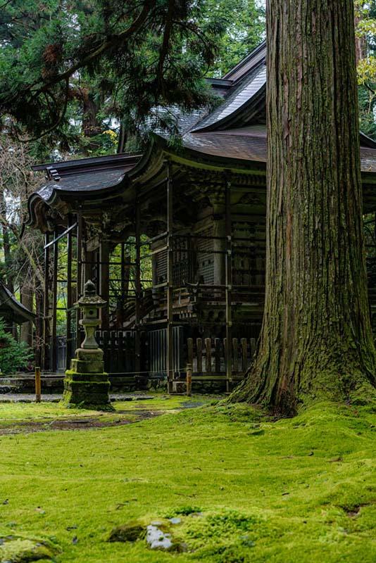 画像: 平泉寺白山神社の本社は冬支度のため、枠で覆われていました。雪が触れて建物が傷むのを防ぐために、後日この枠にはシートが張られていました。さすが豪雪地帯です