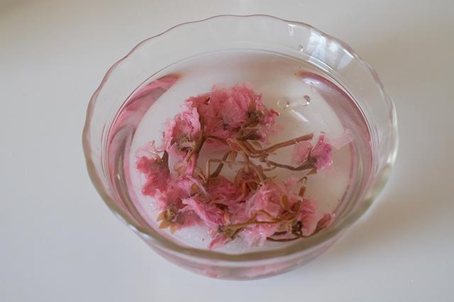 画像: 桜の塩漬けを塩抜きする