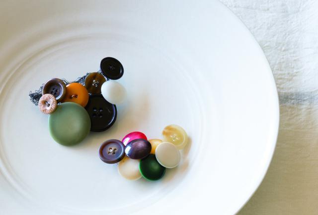 画像: 小さいボタンのブローチとストールピン
