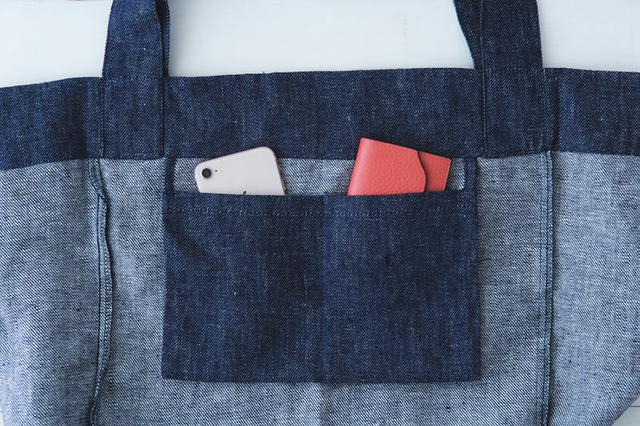 画像: 23cm幅のポケット中央を縫い、2ポケットに