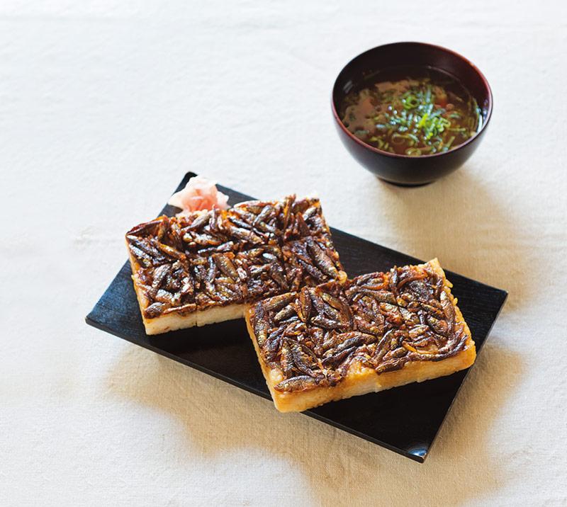画像: もろこ寿司と赤だしの味噌汁