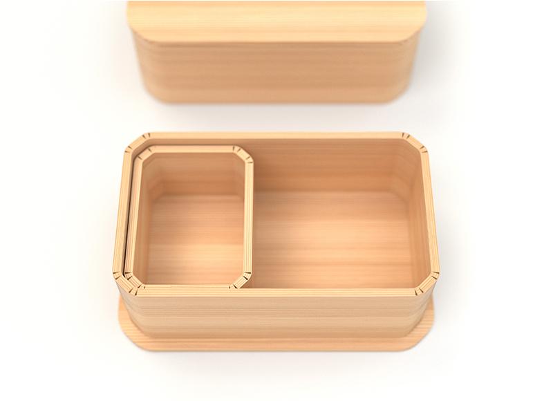 画像: スタンダードの「Hinoki bento」¥9,680(税込)のほか、写真のように間仕切りがある「Hinoki bento+」¥13,200(税込)も